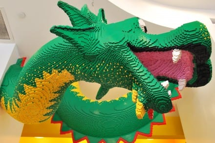 New York with the kids Lego Store dragon