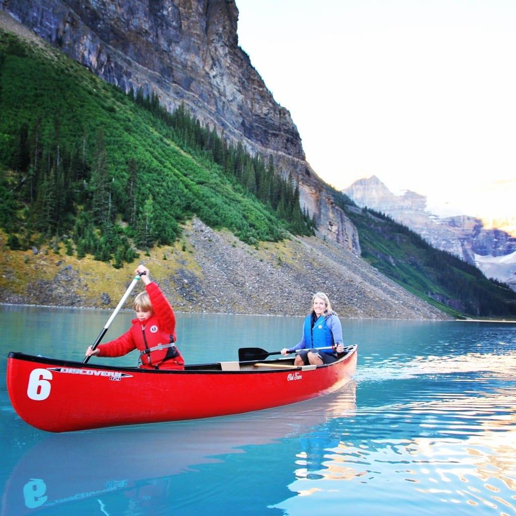 Exploring Lake Louise by canoe