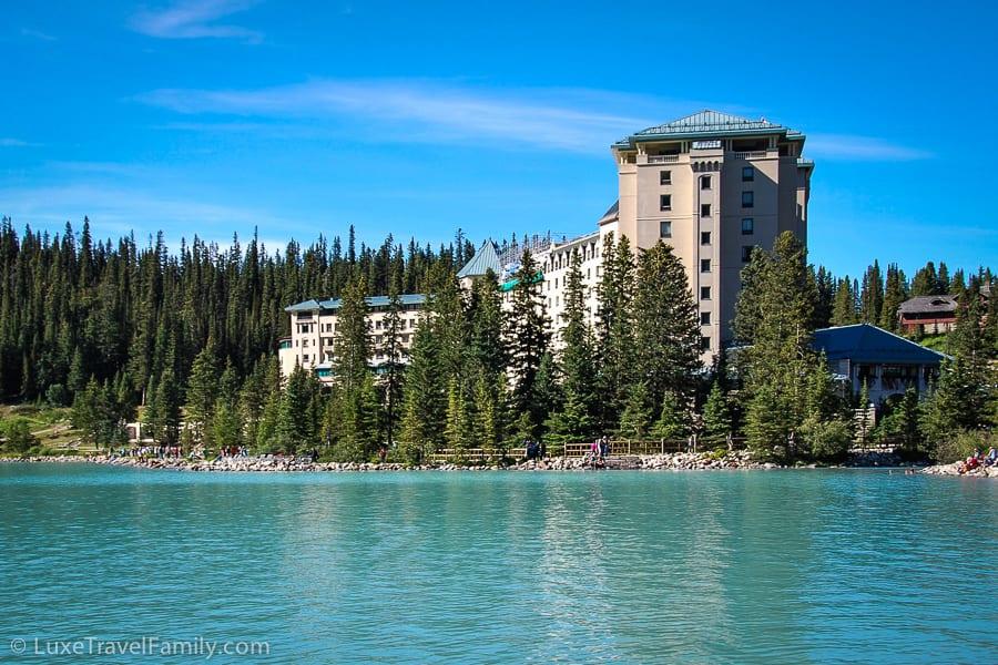 Fairmont Chateau Lake Louise on the shore of an emerald glacial lake