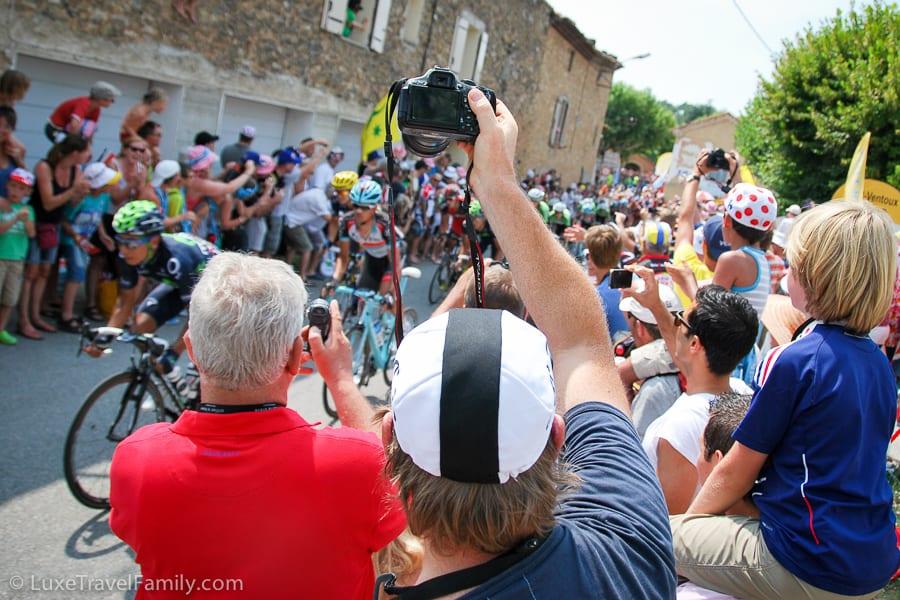 Tour de France lead cyclists heading up Mont Ventoux