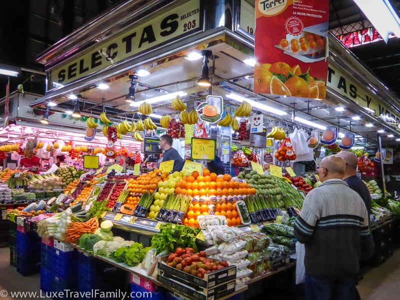 Loads of fruits and vegetables for sale at Mercat de L'Abaceria Central in Barcelona