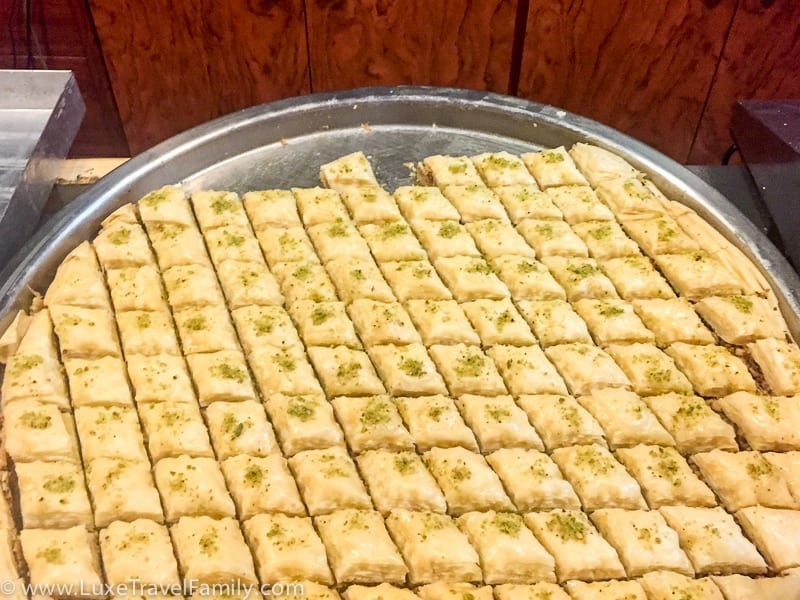 A platter of Syrian pastries at Pastisseria Principe in Barcelona