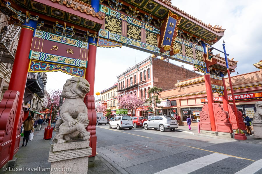 ornate banner in Chinatown, Victoria B.C.