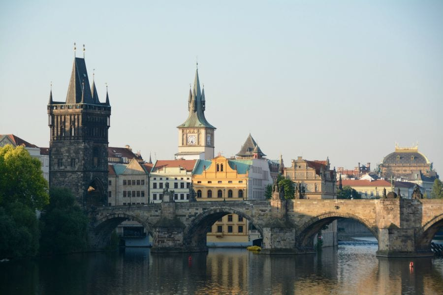 Prague and the Charles Bridge early in the morning