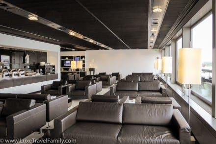 Dark grey leather sofas in the Swiss First Class Lounge in Zurich