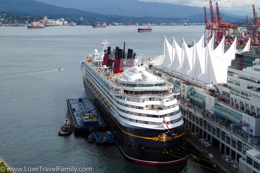 Cruise ship view from Fairmont Pacific Rim Gold Floor.
