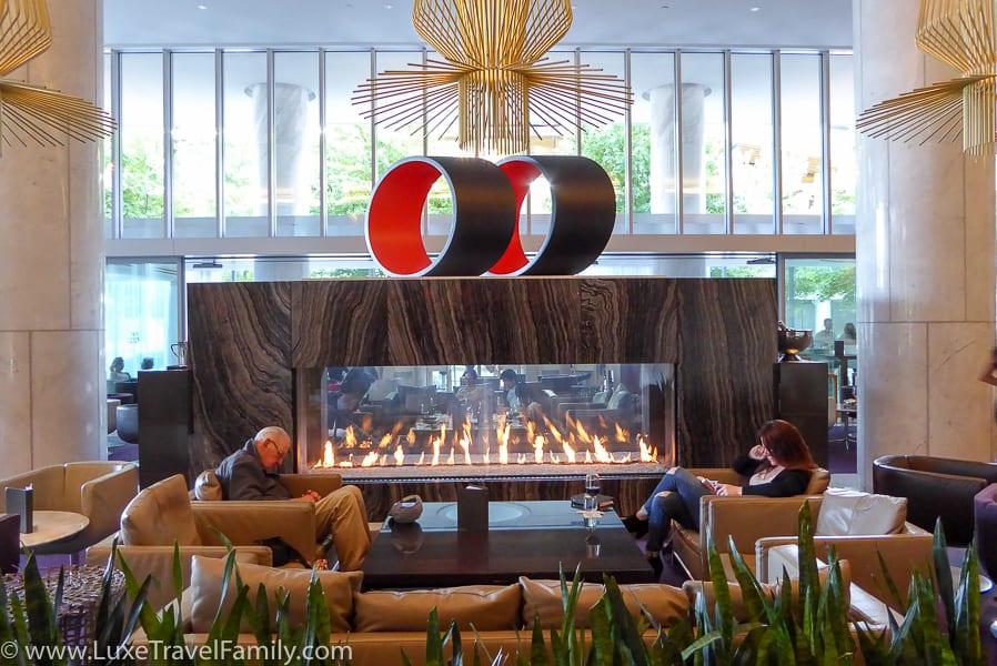 Massive fireplace Fairmont Pacific Rim Lobby Lounge