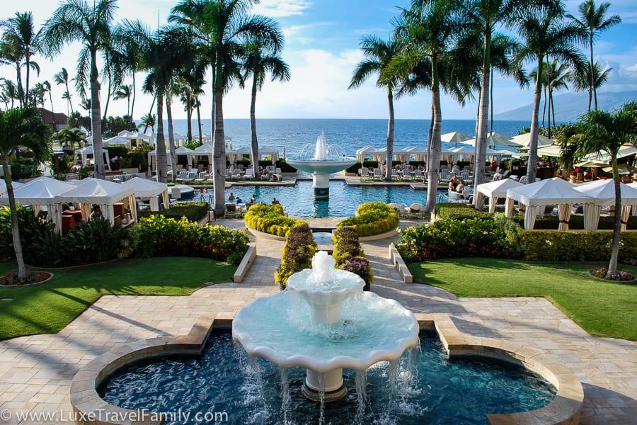 Fountain Pool Four Seasons Maui luxury hotel