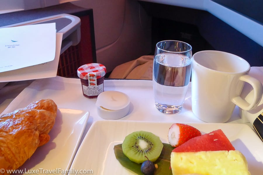 Cathay Pacific Business Class Hong Kong breakfast