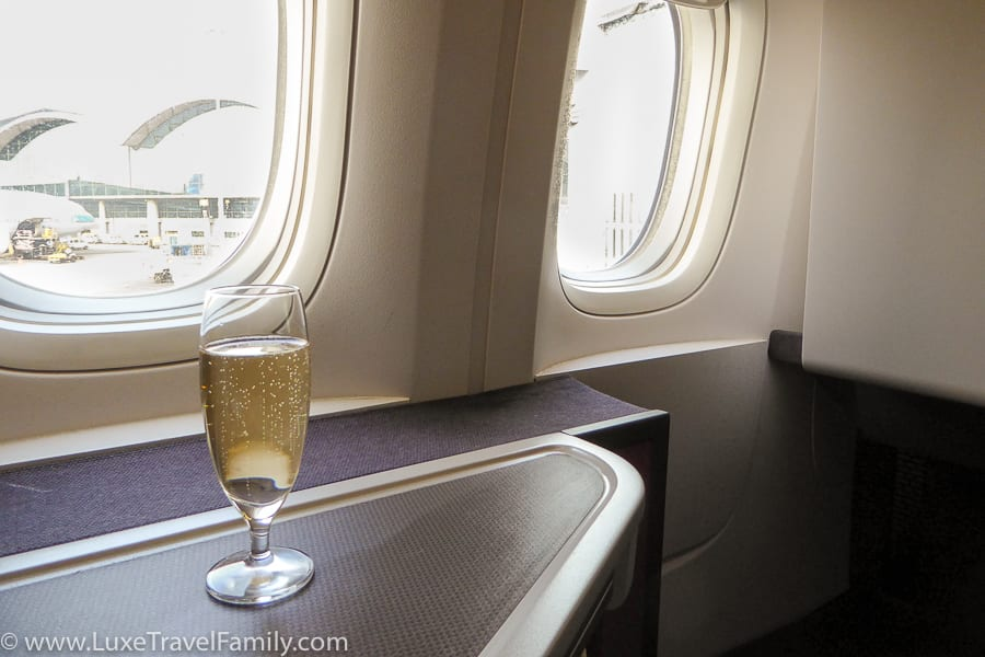 Cathay Pacific Business Class Hong Kong Champagne