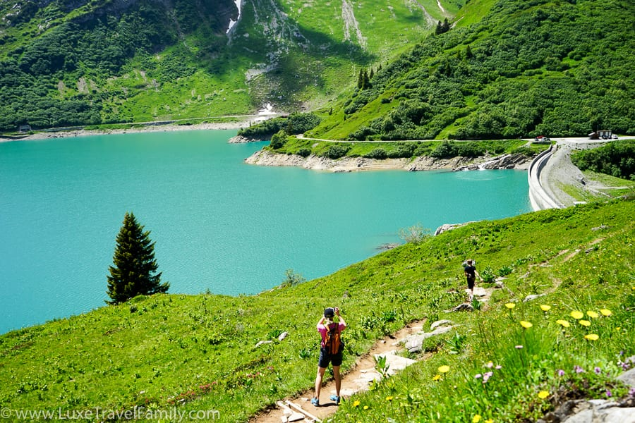 Lake Spullersee family hiking in Lech Austria