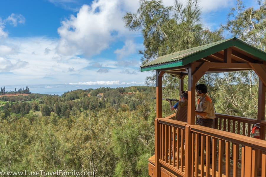 Boy and instructor Sporting Clays on Lanai