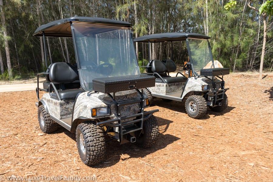 Off-road golf carts on Lanai