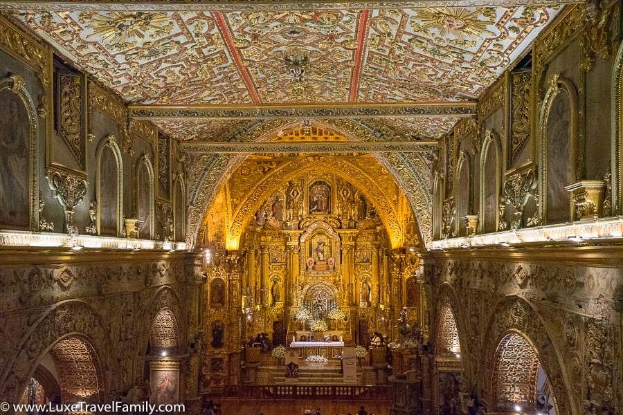 Ornate San Francisco Church Old Town Quito with Kids