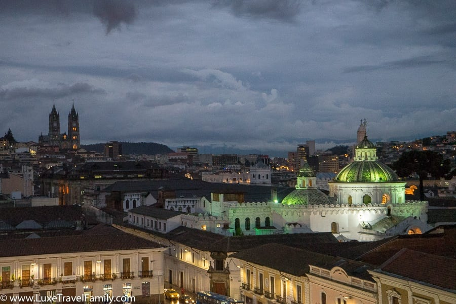 Night time Old Town Quito with Kids
