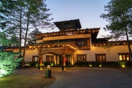Entrance to COMO Uma Paro luxury hotel in Bhutan