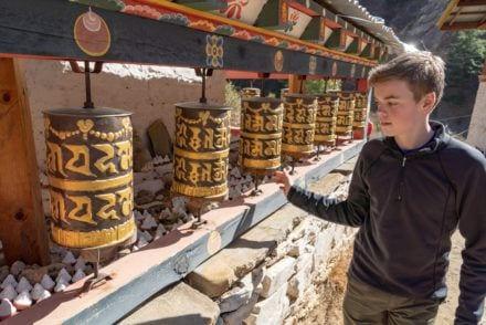Turn prayer wheels things to do in Bhutan with kids