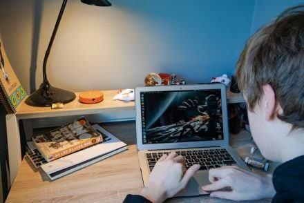 Boy Online learning Skyroam WiFi Hotspot